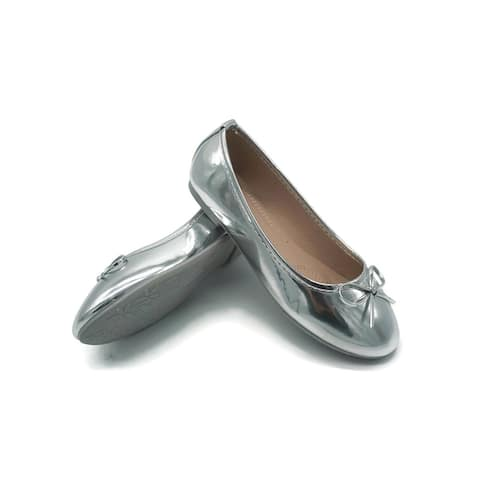 Pipiolo Girls Silver Bow Elastic Strap Mary Jane Shoes 3 Kids - 3 Kids