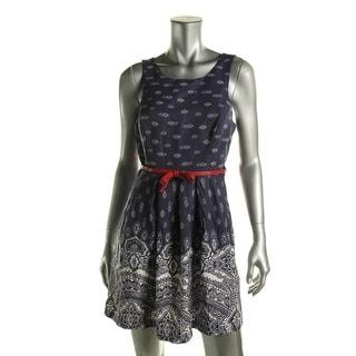 Teeze Me Womens Juniors Printed Sleeveless Casual Dress - 9