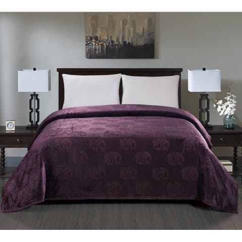 Elephant Embossed Blanket Queen Plum
