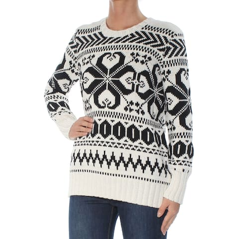 CHARTER CLUB Womens White Crochet Printed Long Sleeve Crew Neck Sweater Petites Size: XS