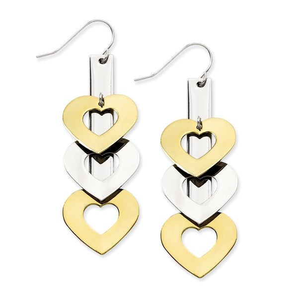 Stainless Steel IP Gold Plated & Polished Hearts Dangle Earrings