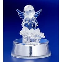 "Pack of 6 Icy Crystal Illuminated Angel Watching Over Jesus Figurines 4"" - CLEAR"