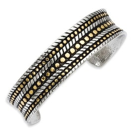 Stainless Steel Oxidized & IP Gold-plated Cuff Bangle