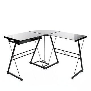 VECELO L-Shape Corner Computer Desk in Black Glass