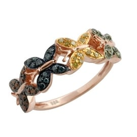 """Attractive 0.32 Carat Multi Color Diamond """"Butterfly"""" Ring, 925 Sterling Silver"""
