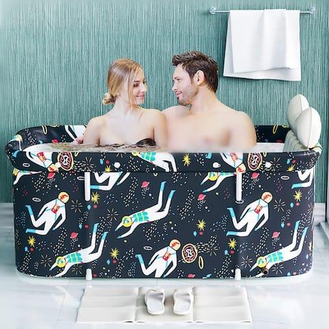 1.2m Portable Foldable Bathtub Double Non-Inflatable Bath Tub Household Folding Large Full Body Bath Spa Barrel With Frame
