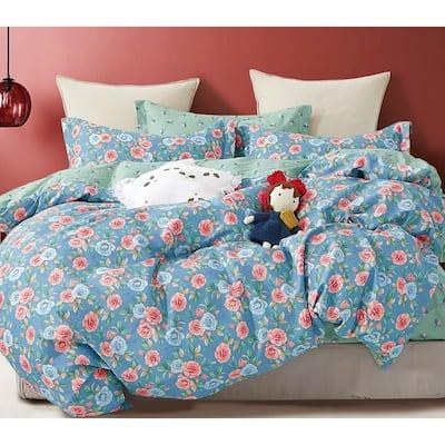 Blue Donau 100% Cotton Reversible Comforter Set