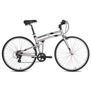 "2016 Montague Crosstown 21"" 700C Silver 7 Speed Folding Hybrid Commuter Bike"