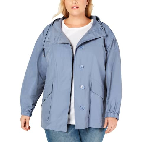 Eileen Fisher Womens Plus Coat Hooded Hi-Low - Chambray