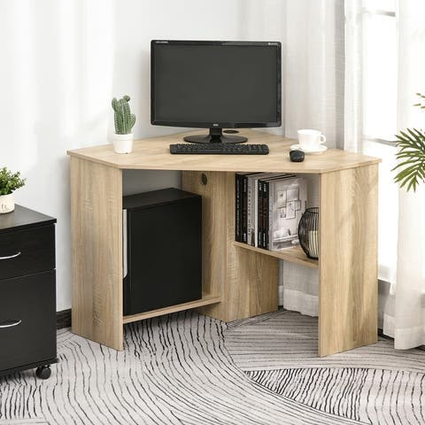 HOMCOM Multi-Tier Corner Computer Desk Writing Table for Home & Office with Multiple Shelf Build & Sturdy Design