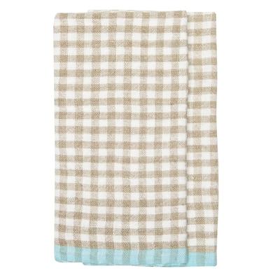 Gingham Natural/Aqua Towels - Set of 2 - 20x30