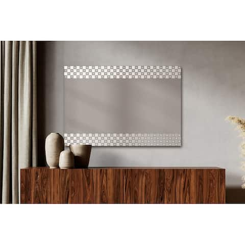Contemporary Rectangle Wall Mirror Checker Etched Boarder Framed Decorative Floating Mirror Hangs Vertically or Horizontally