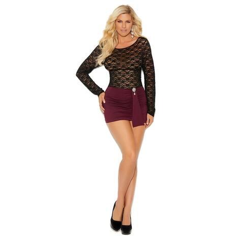 Plus Size Bottled Up Mini Dress - Black/Burgundy