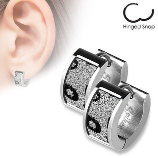 Pair of Square Leopard Sand Sparkle Stainless Steel Hoop Earrings