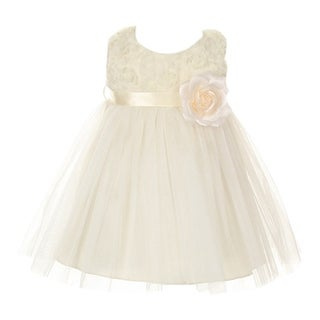 Baby Girls Ivory Chiffon Rosebud Applique Bodice Tulle Flower Girl Dress 6-24M