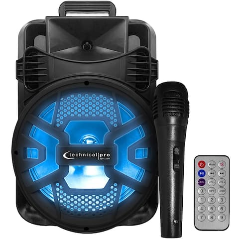 Technical Pro 2000 Watts Bluetooth DJ Speaker with Black Grill and Microphone with USB/SD Card Inputs & FM Radio