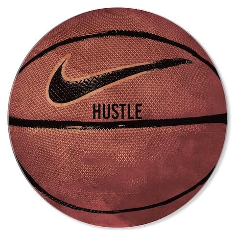 Oliver Gal 'Basketball Round' Sports Orange Acrylic Wall Art