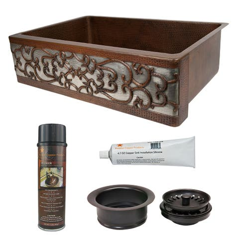 Premier Copper Products KSP3_KASDB33229S-NB Kitchen Sink and Drain Package