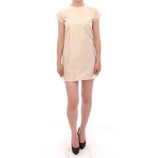 Andrea Incontri Beige Cap Sleeves Shift Mini Dress - it42-m