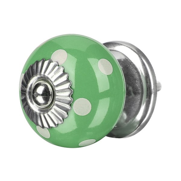 Ceramic Knobs Drawer Knob Round Pull Handle Home Door Cabinet Cupboard Wardrobe Dresser Replacement Green - 1pcs