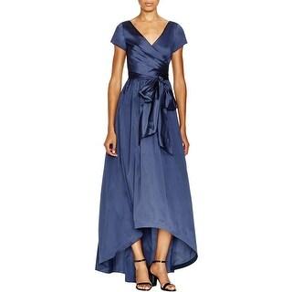 Adrianna Papell Womens Petites Formal Dress Hi-Lo Shirred