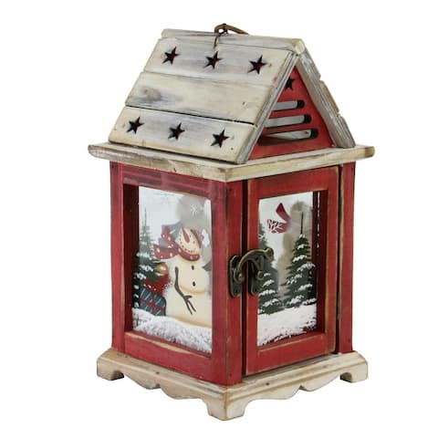 "11"" Red Snowman Holiday Scene Decorative Christmas Pillar Candle Lantern"