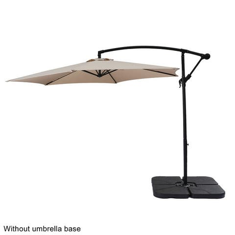 10FT Banana Umbrella Waterproof Folding Sunshade Top Color/Wine Red Resin Base is not included)