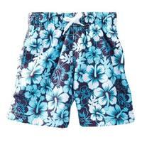 Azul Little Boys Blue Hibiscus Floral Print Drawstring Tie Swim Shorts