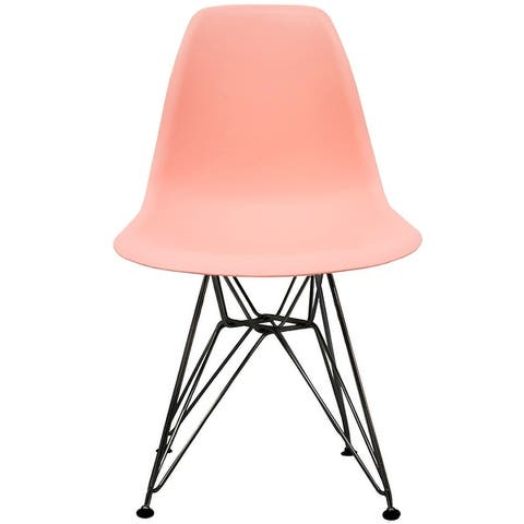Modern Color Pyramid Seat Height DSW Molded Armless Plastic Dining Room Chairs Black Wire Eiffel Dowel Legs