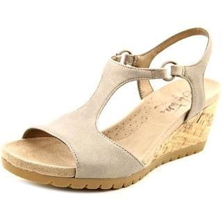 Life Stride Now Women Open Toe Synthetic Tan Wedge Sandal
