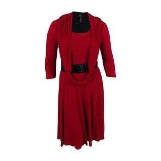 Style & Co. Women's Belted Sweater Dress & Scarf