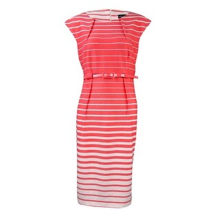 Connected Women's Belted Stripe Cap sleeve Dress - Melon - 10