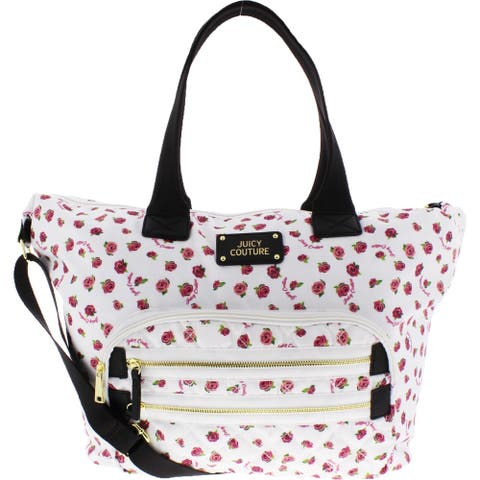 Juicy Couture Neon Lights Women's Satin Floral Print Quilted Adjustable Weekender Handbag - Extra Large