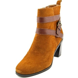 Lauren Ralph Lauren Cassy Women Round Toe Leather Tan Ankle Boot