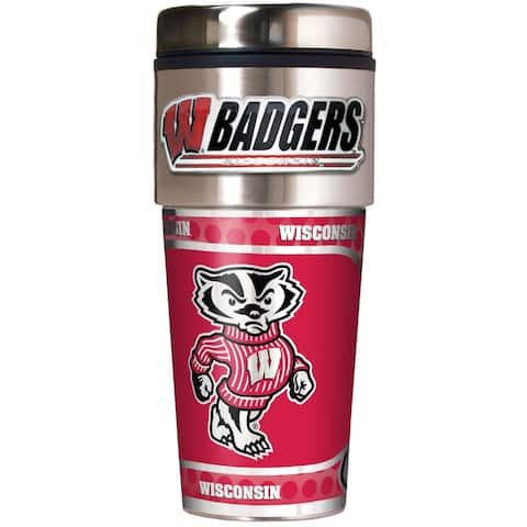 Wisconsin Badgers 16oz Travel Tumbler with Metallic Wrap