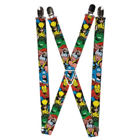 Buckle Down Men's Elastic Marvel Avengers Clip End Suspenders - one size
