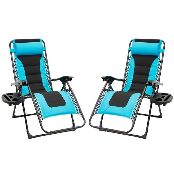 2pc Padded Zero Gravity Chair Set with Leg Stabilizers and Big Cupholder - Turquoise & Black. Opens flyout.
