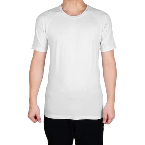 Men Athletic Short Sleeve Clothes Activewear Badminton Sport T-shirt White L