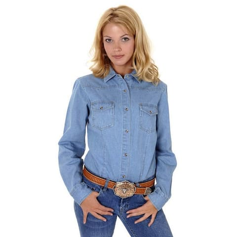 Roper Western Shirt Womens Solid Denim L/S Blue