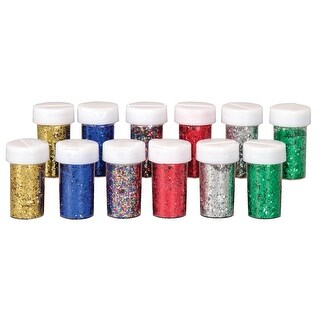 School Smart Craft Glitter with Shaker Tops, 3/4 oz, Assorted Colors, Set of 12