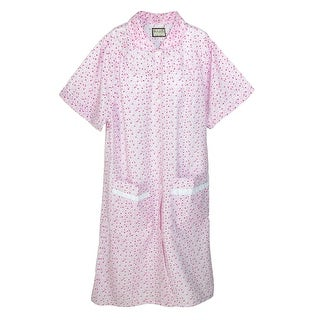 Ten West Apparel Women's Button Front Short Sleeve Duster Robe - Pink - Medium
