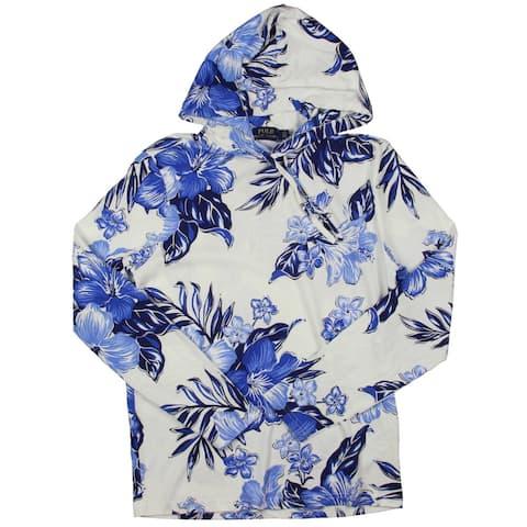 Polo Ralph Lauren Mens Hoodie Cotton Floral Print - Blue - XS