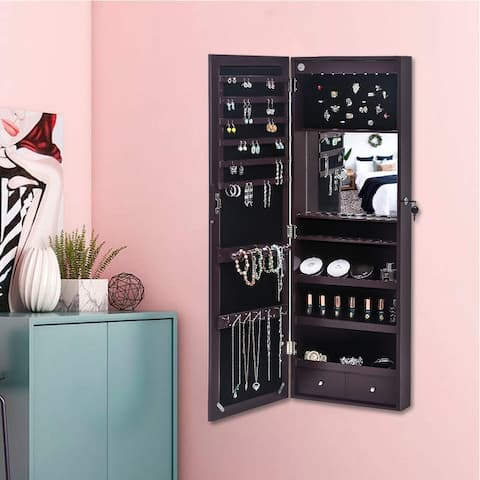 Wall Mounted Jewelry Storage Mirror Cabinets with Blue LED
