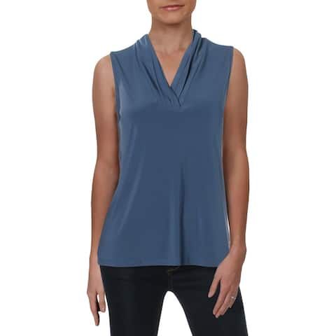 Anne Klein Womens Shell Pleated V-Neck