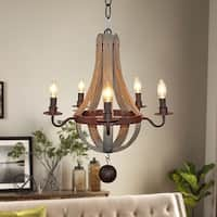 Rustic 5-Light Distressed Wood Chandelier