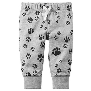 Carter's Baby Boys' Pull-On French Terry Pants (9 Months, Paw Print)
