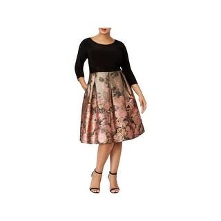 SLNY Womens Plus Party Dress Cocktail 3/4 Sleeve
