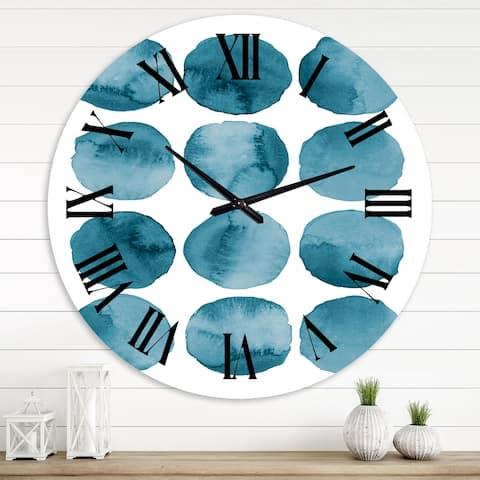 Designart 'Aquamarine Circles Blue Geometric Elements' Modern wall clock