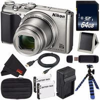 Nikon COOLPIX A900 Digital Camera (Silver) International Model + Replacement Battery + External Rapid Charger + 64GB Card Bundle