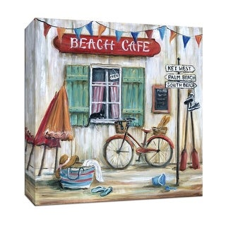 """PTM Images 9-147006  PTM Canvas Collection 12"""" x 12"""" - """"Beach Cafe"""" Giclee Cafes & Restaurants Art Print on Canvas"""